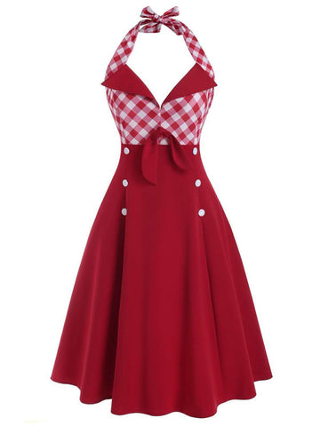 ROT 1950ER NECKHOLDER PLAID SWING KLEID