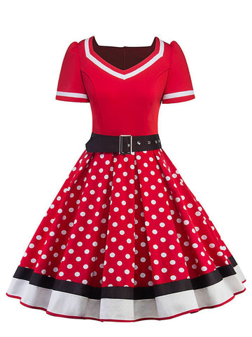 1950ER PATCHWORK DOT KURZARM SWING KLEID