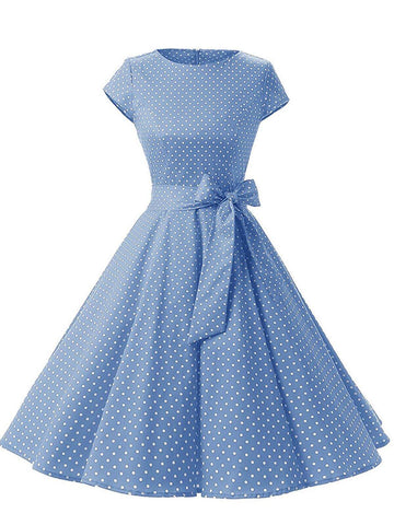 1950ER BLAU DOT BOW KURZARM SWING KLEID