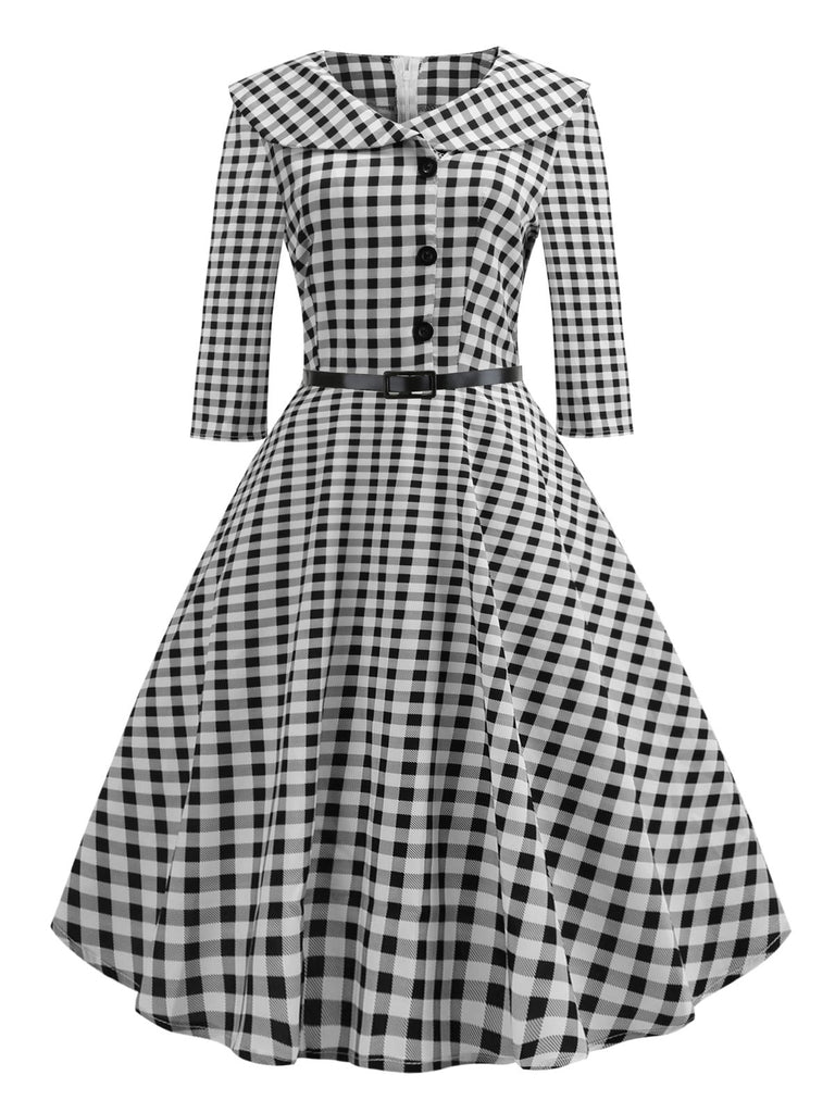 1950ER SCHWARZ PLAID TURN-DOWN-KRAGEN-KLEID