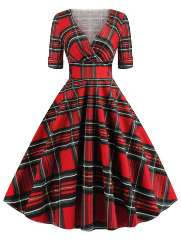 1950ER VINTAGE PLAID HOHE TAILLE SWING KLEID
