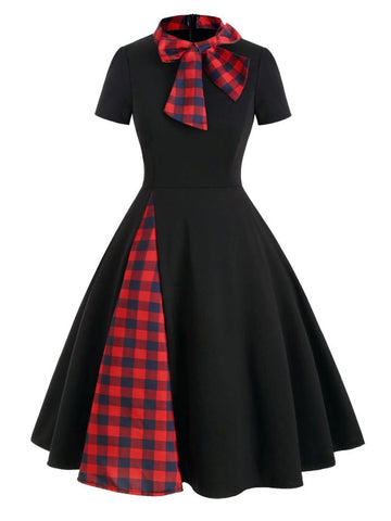 1950ER PLAID BOW PATCHWORK SWING KLEID