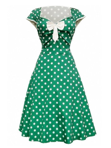 1950ER VINTAGE DOT BOW KURZARM PARTY KLEID