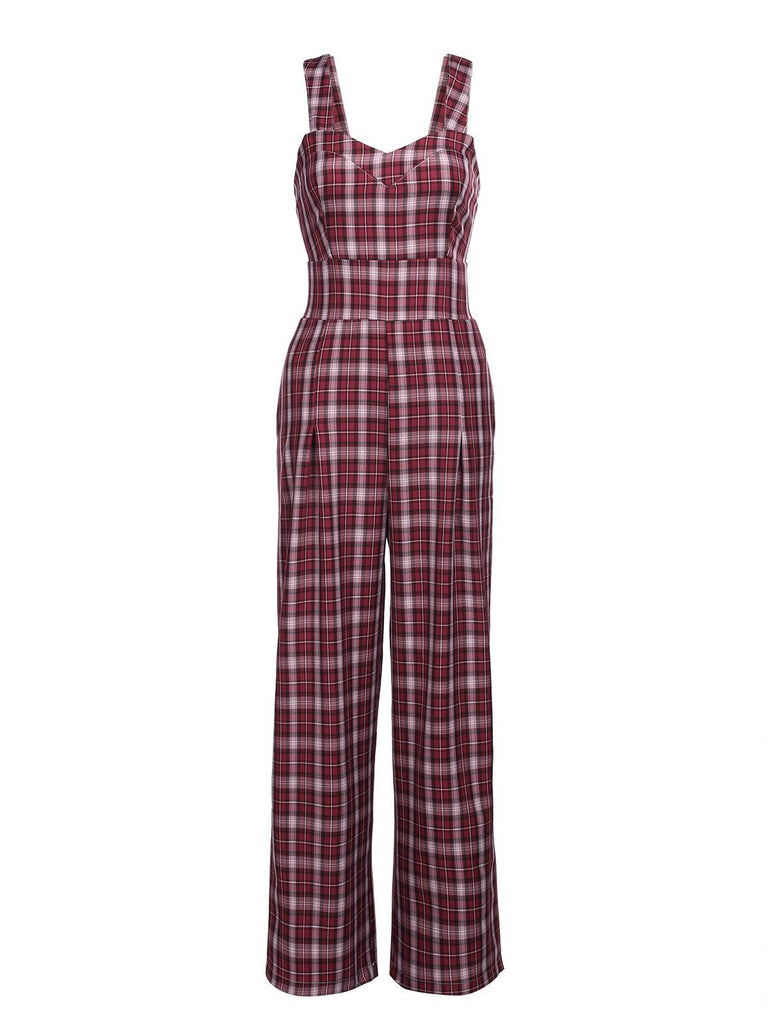 VINTAGE PLAID SPAGHETTI JUMPSUIT