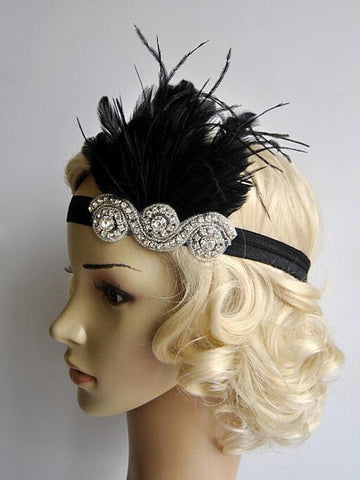 SCHWARZ 1920ER FEATHER FLAPPER STIRNBAND