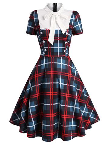 1950ER PLAID PATCHWORK BOW SWING KLEID