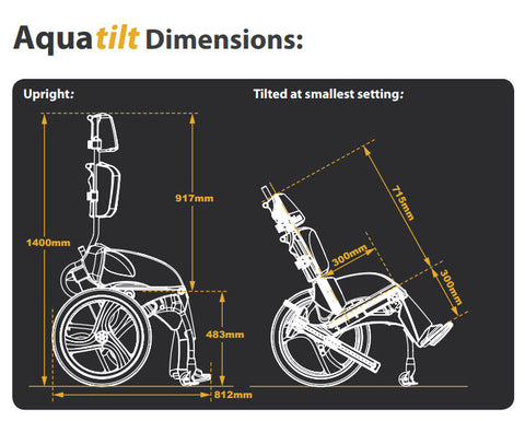 AquaTilt Pool Wheelchair dimensions