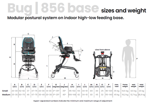 Ormesa Bug indoor high-low base 856 sizes and weight