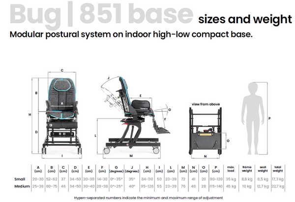Ormesa Bug indoor high-low compact base 851 sizes and weight