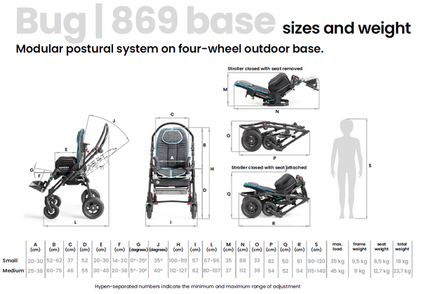 Ormesa Bug outdoor base 869 sizes and weight