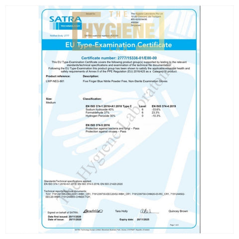 Safety Certificate - Livewell Nitrile Powder Free Examination Gloves