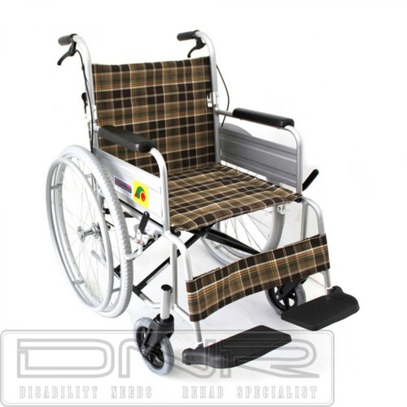 "SANCTION STANDARD WHEELCHAIR FOLD BACK WITH ASSISTED BRAKES - 18"" - DNR Wheels"