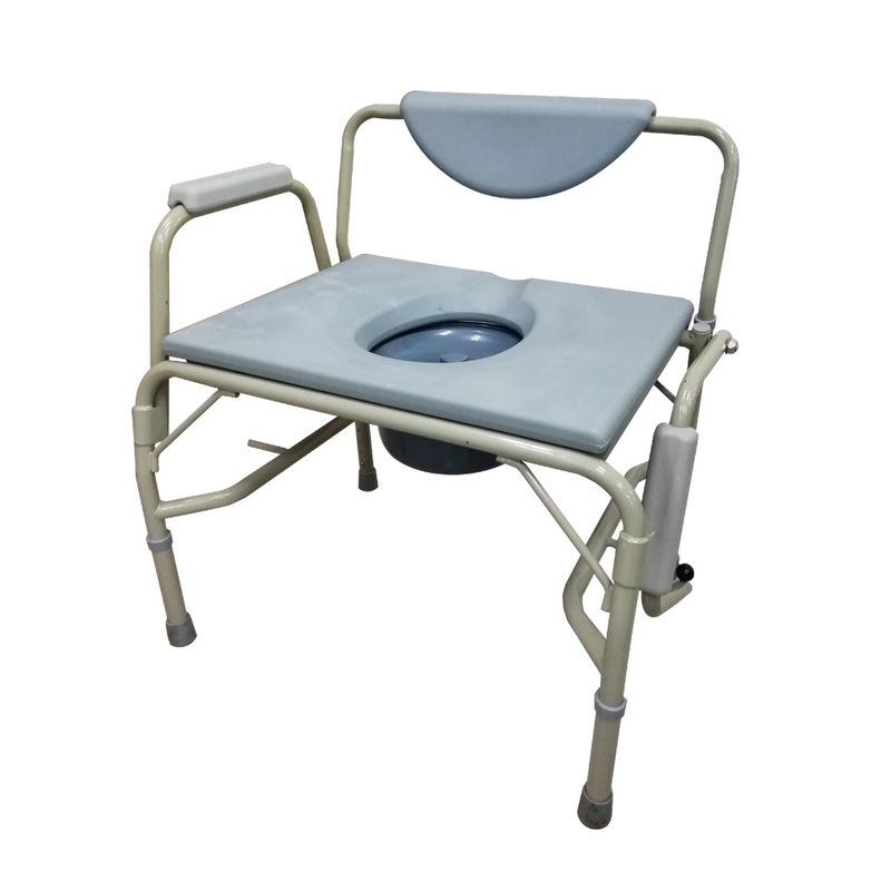Height Adjustable Stationary Bariatric Commode flip down armrest