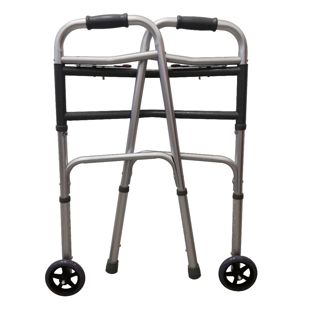 "Foldable Bariatric Walking Frame with 5"" Front Castors folded"