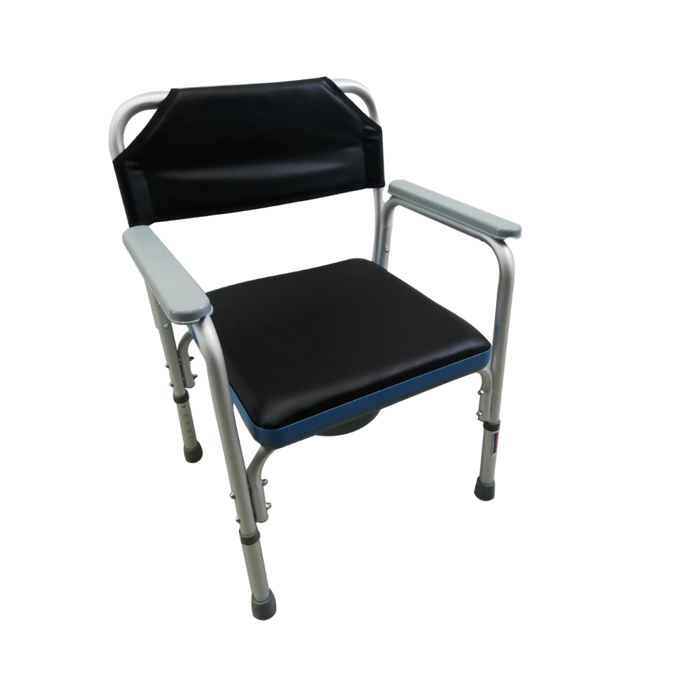Aluminium Stationary Commode With PVC Seat Cushion