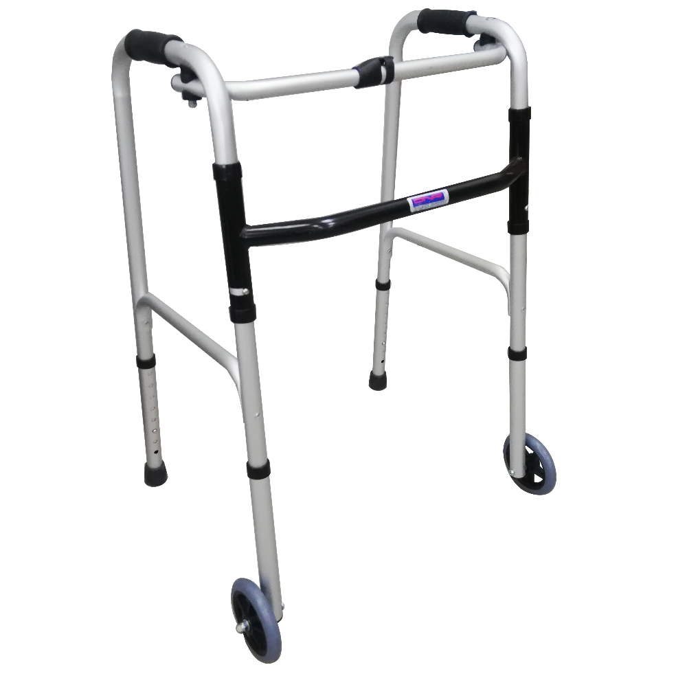 "Foldable Walking Frame with 5"" Front Castors"