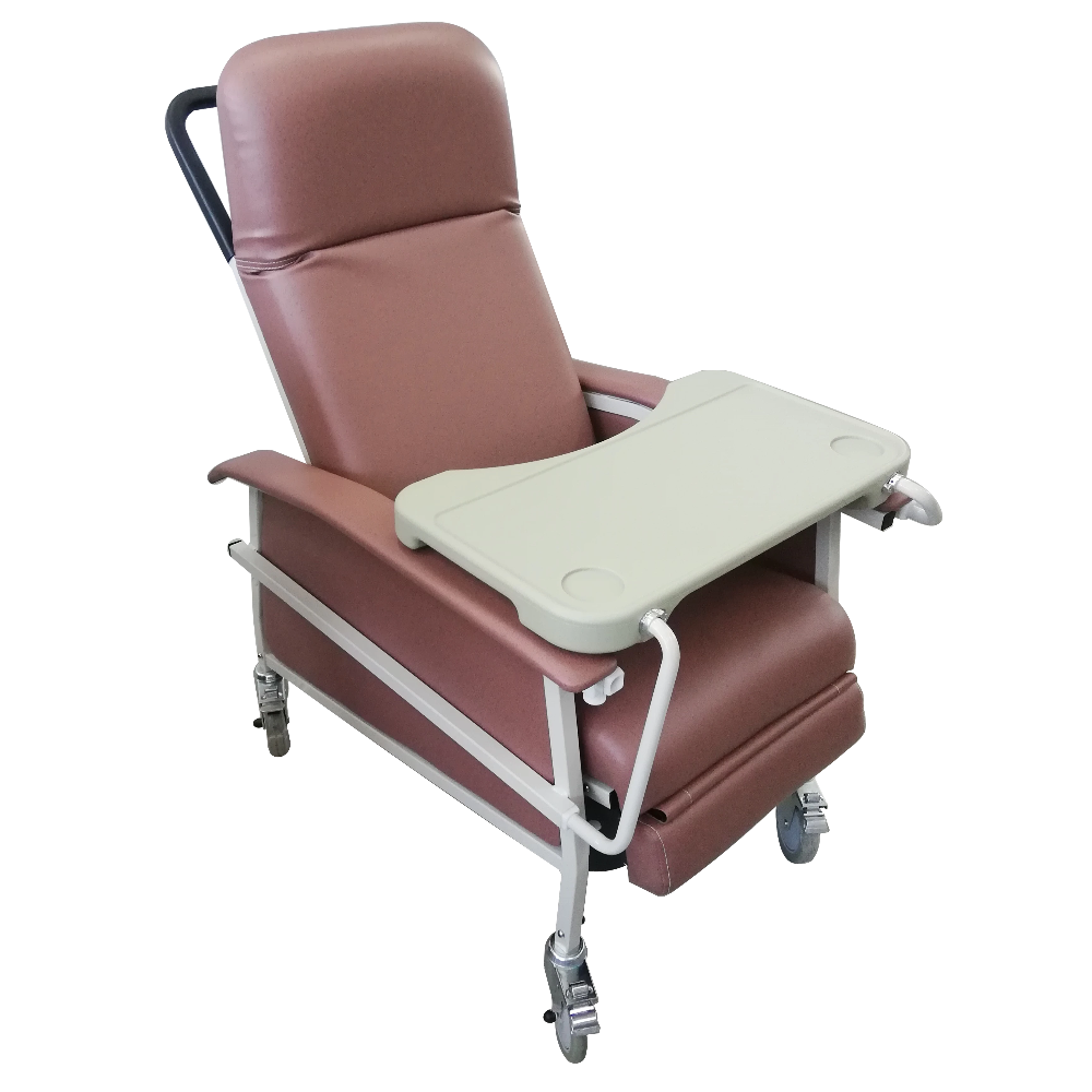 Manual Reclining Geriatric Chair with Tray