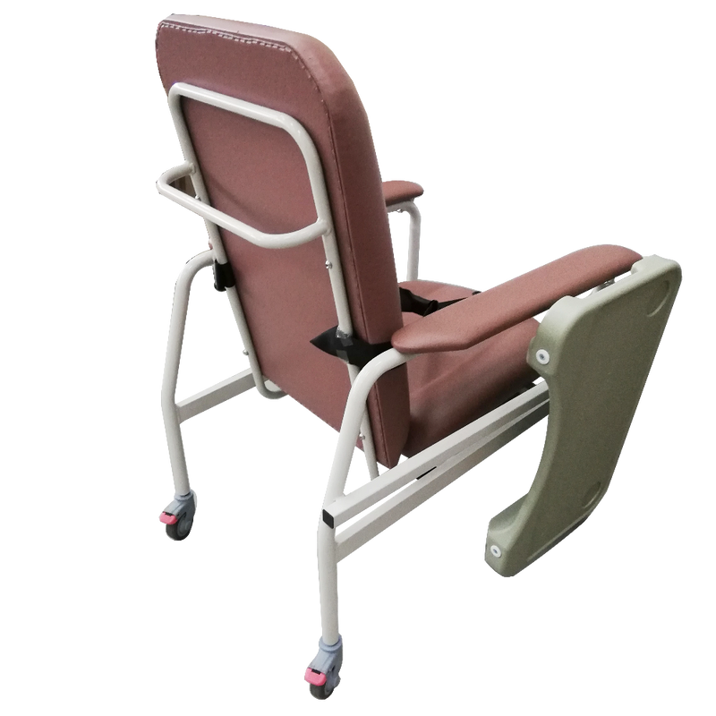 Mobile Non-Recline Geriatric Chair With Tray rear view