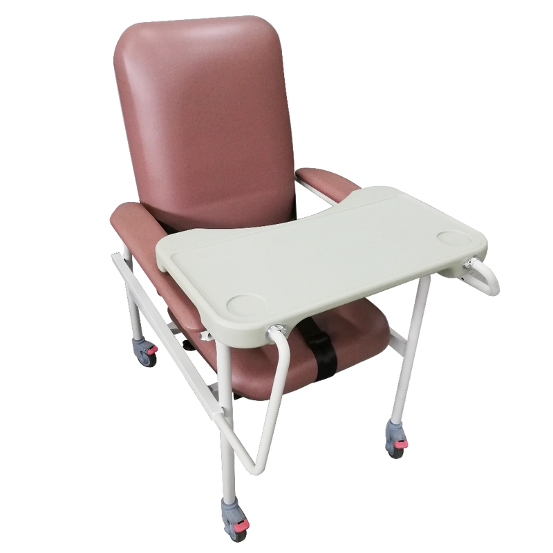 Mobile Non-Recline Geriatric Chair With Tray