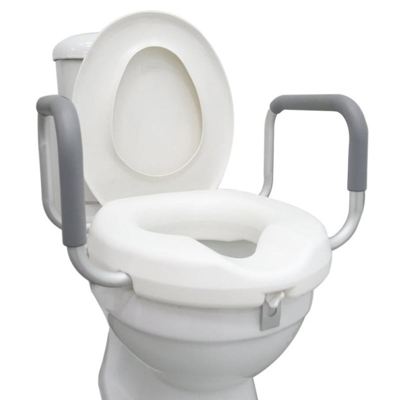 "3"" Raised Toilet Seat with Handle (on toilet bowl)"