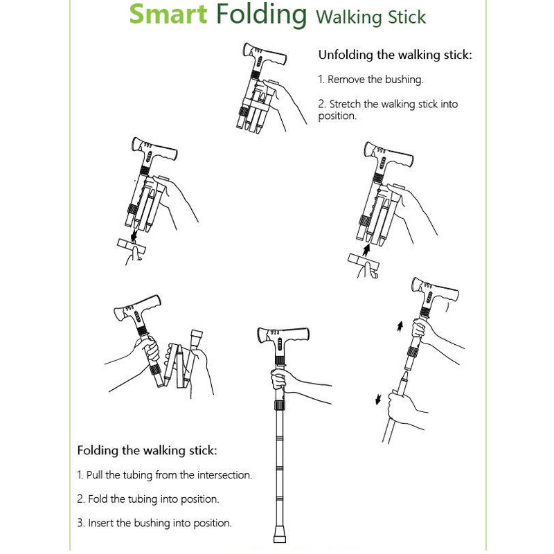 Smart Folding Walking Stick (MP3 Handle With Radio & Auto Fall Alarm)