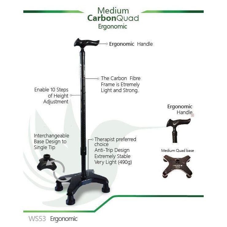 Smart Walking Stick with Medium Carbon Quad (Ergonomic Handle)