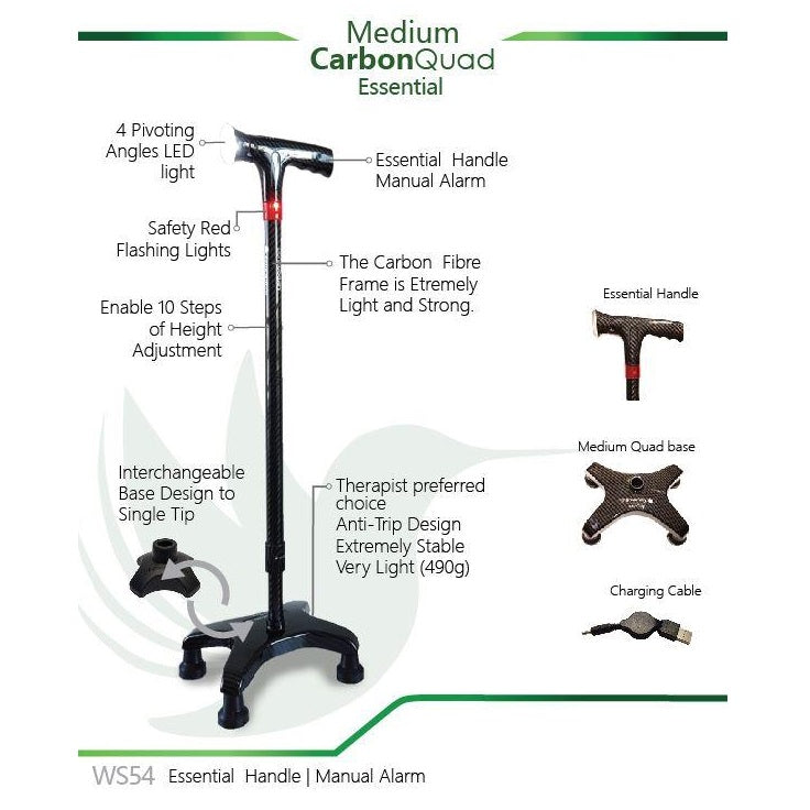 Smart Walking Stick with Medium Carbon Quad (Essential Handle with Manual Alarm)