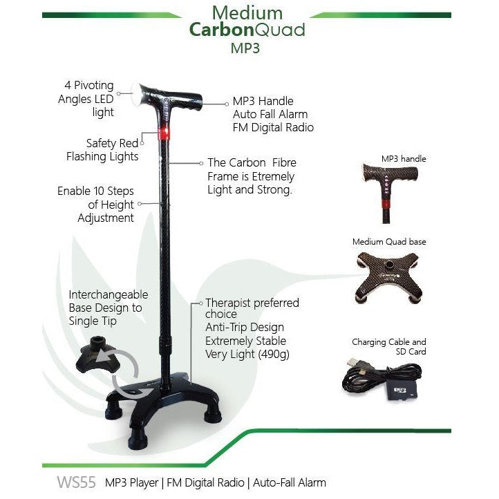 Smart Walking Stick with Medium Carbon Quad (MP3 Handle with Radio & Auto Fall Alarm)