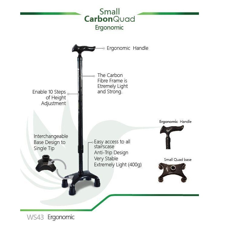 Smart Walking Stick with Small Carbon Quad (Ergonomic Handle)