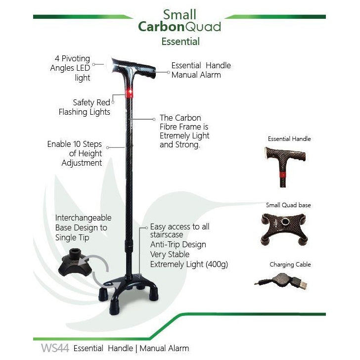 Smart Walking Stick with Small Carbon Quad (Essential Handle with Manual Alarm)