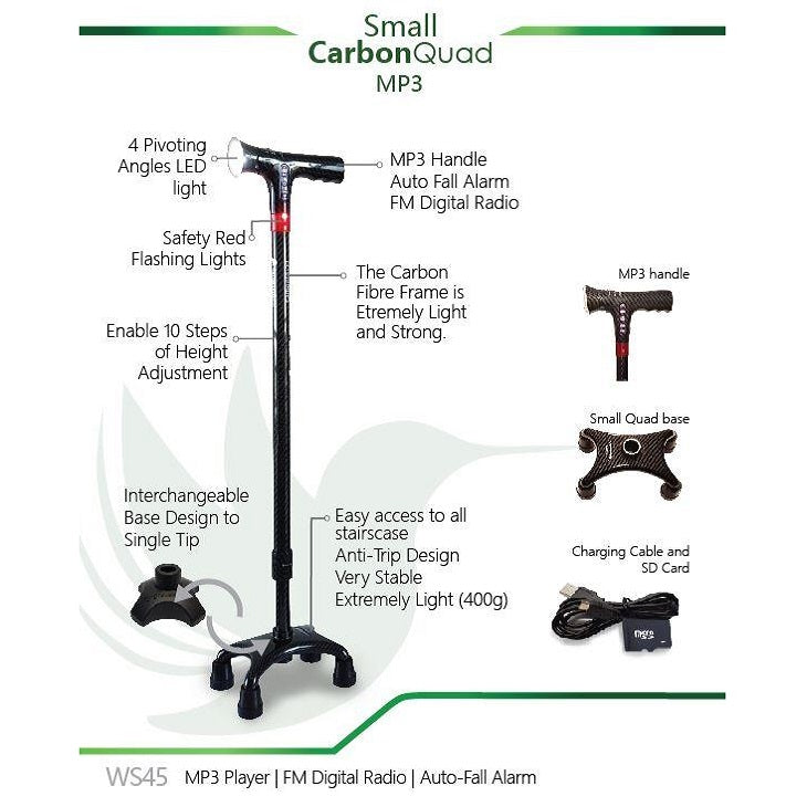 Smart Walking Stick with Small Carbon Quad (MP3 Handle with Radio & Auto Fall Alarm)