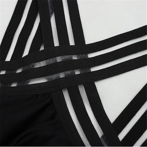 High Neck Bandage Cross Back Bathing Suit