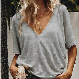 Solid V Neck Short Sleeve Tshirt