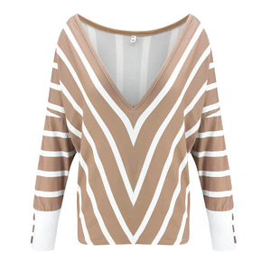 Women Casual Long Sleeve V Neck Blouse