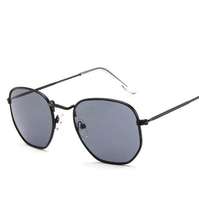 Small Frame Polygon Clear Lens Sunglasses