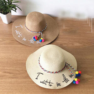 Letter Embroidery Big Brim Straw Hat