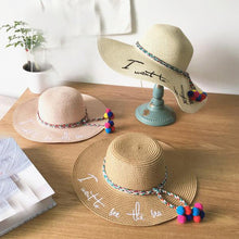 Load image into Gallery viewer, Letter Embroidery Big Brim Straw Hat