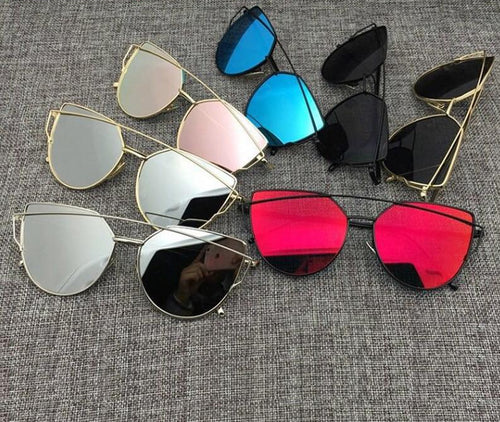 Cat Eye Vintage Metal Reflective Sunglasses