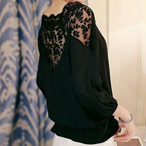 Hollow Lace Casual Chiffon Blouse