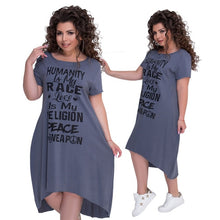 Load image into Gallery viewer, Plus Size Letter Printed Short Sleeve Mid-Calf Dress