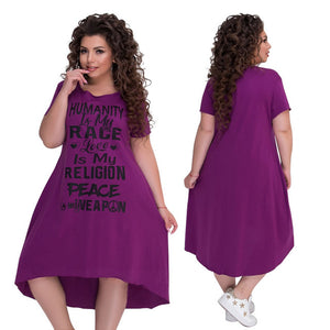 Plus Size Letter Printed Short Sleeve Mid-Calf Dress