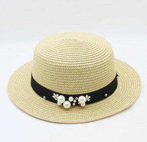 Flower Beads Wide Brimmed Panama Hat