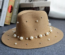 Load image into Gallery viewer, Flower Beads Wide Brimmed Panama Hat
