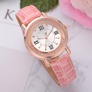 Rhinestone Leather Bracelet Wristwatch