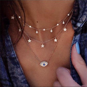 Short Crystal Stars Necklace