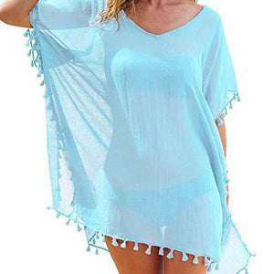 Chiffon Tassels Beach Mini Dress