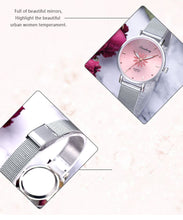 Load image into Gallery viewer, Luxury Silver Dial Flowers Wrist Watch