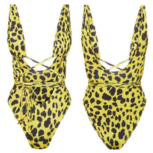 Load image into Gallery viewer, Leopard Printed Bandage Bathing Suit