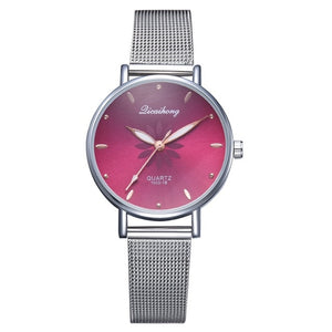 Luxury Silver Dial Flowers Wrist Watch