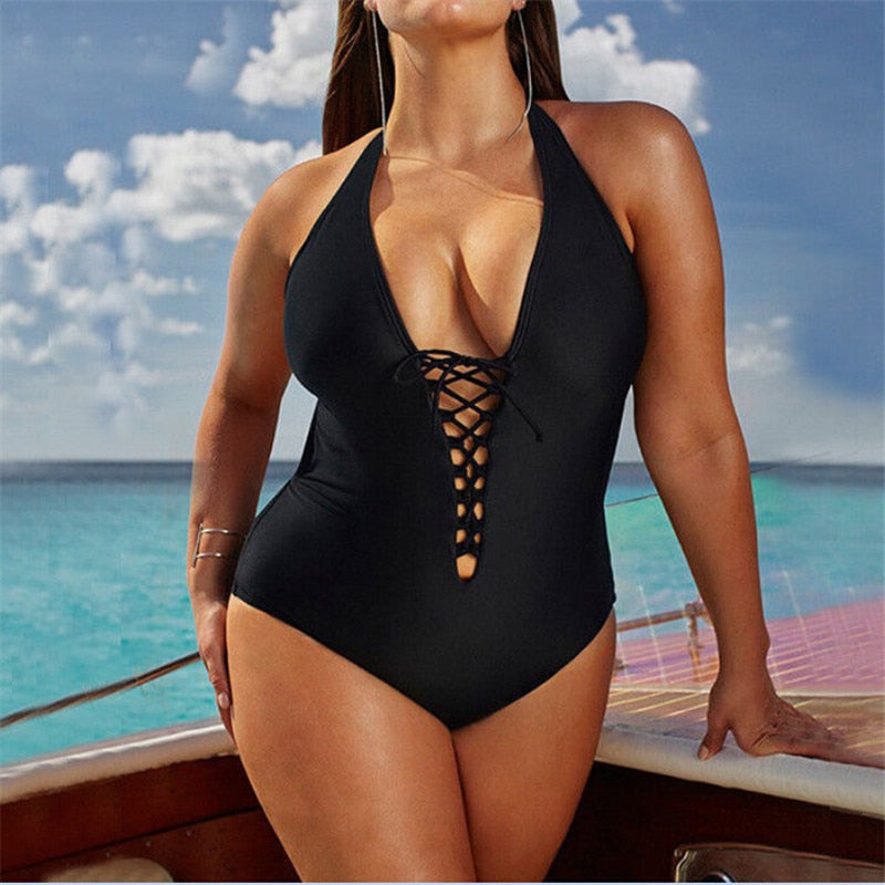 One Piece Women Plus Size Vintage Swimwear